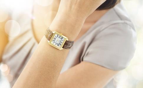 Frauenarm mit Armbanduhr und Crocoband