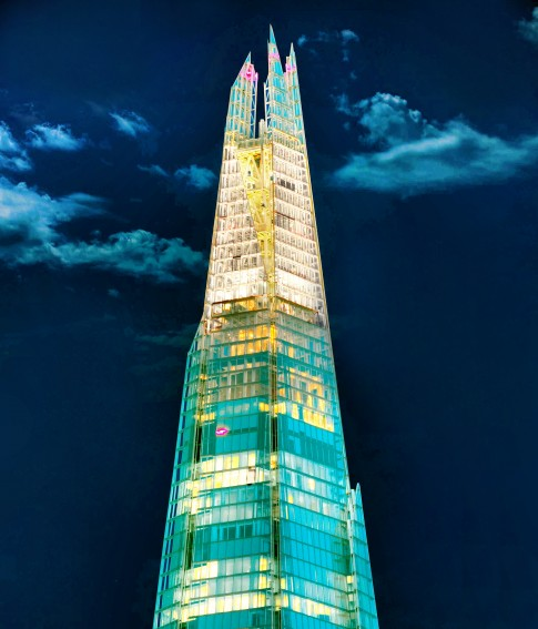 Architektur--The-Shard--London---Nachtaufnahme