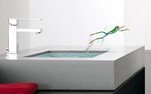 Home/Living/Dekoration - Modernes Betonwaschbecken mit Wasser+Frosch_Alape