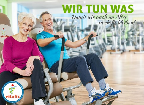 Fitness im Alter - Vitalis-Marketingkampagne  -  BestAger Paar an Fitnessgeraet