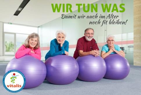 Fitness im Alter - Vitalis Marketingkampagne  -  Vier Senioren an Gymnastikbaellen